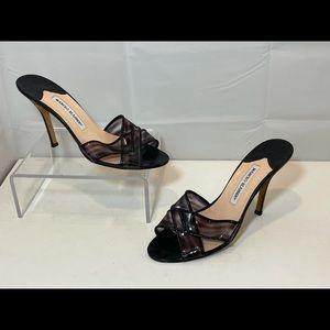 Manolo Blahnik PVC Patent High Heel Sandal